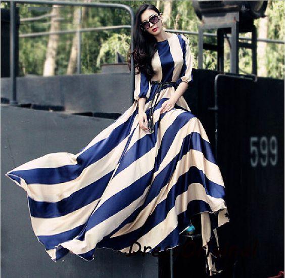 Striped maxi dressNavy and cream striped dress long dress Floor ...