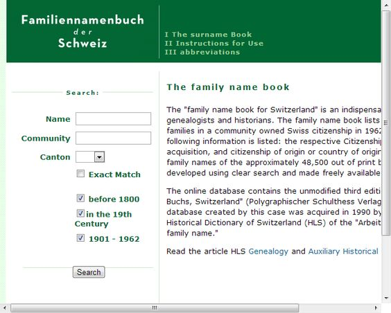 Family Name Book:   !!!!!!!   Historical Dictionary of Switzerland (HLS)