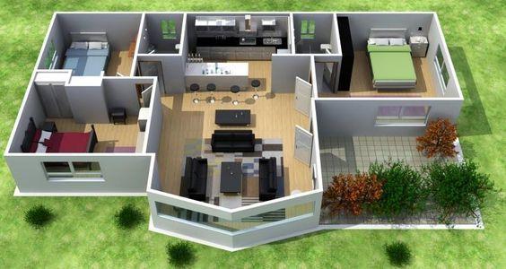 Plano de casa de 3 dormitorios en 3D #modelosdecasas