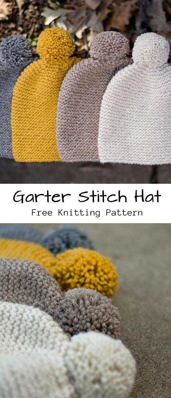 Garter Stitch Hat Free Knitting Pattern #knittingpatternsquick