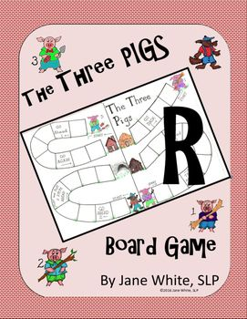 Players in the Pre-K to second grade level will enjoy practicing the /r/ sound in words with this Three Pigs Board Game.  Print out the two-piece game board on card stock, laminate and tape together.  Print out the houses of the Three Pigs and the Wolf's den.