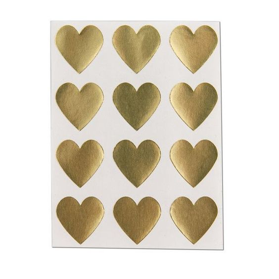 We Love Citrus Heart Stickers - Gold