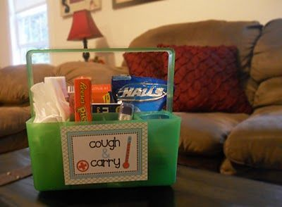 """Cough and Carry Caddy - sweet and handy """"get well"""" idea."""