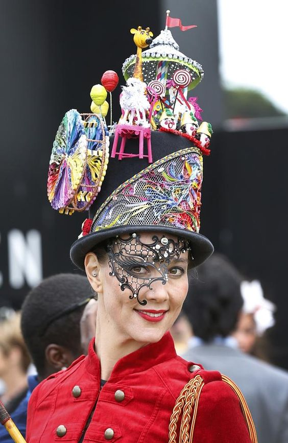 Talitha Herrick wears a hat called Circus Circus by House of Windsor at Myer Fashions on the Field for Crown Oaks Day at Fleming: