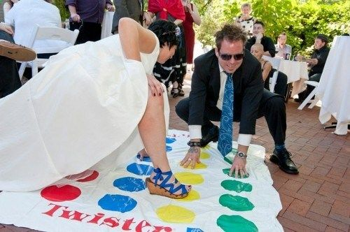 TWISTER YES YES OH MY GOD YES. Make sure you tell your wedding party to wear some shorts under those dresses. :P