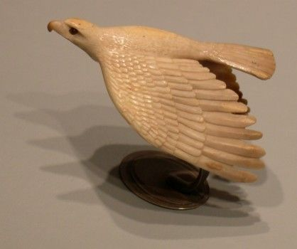 Fossil Walrus Ivory Eagle Carving