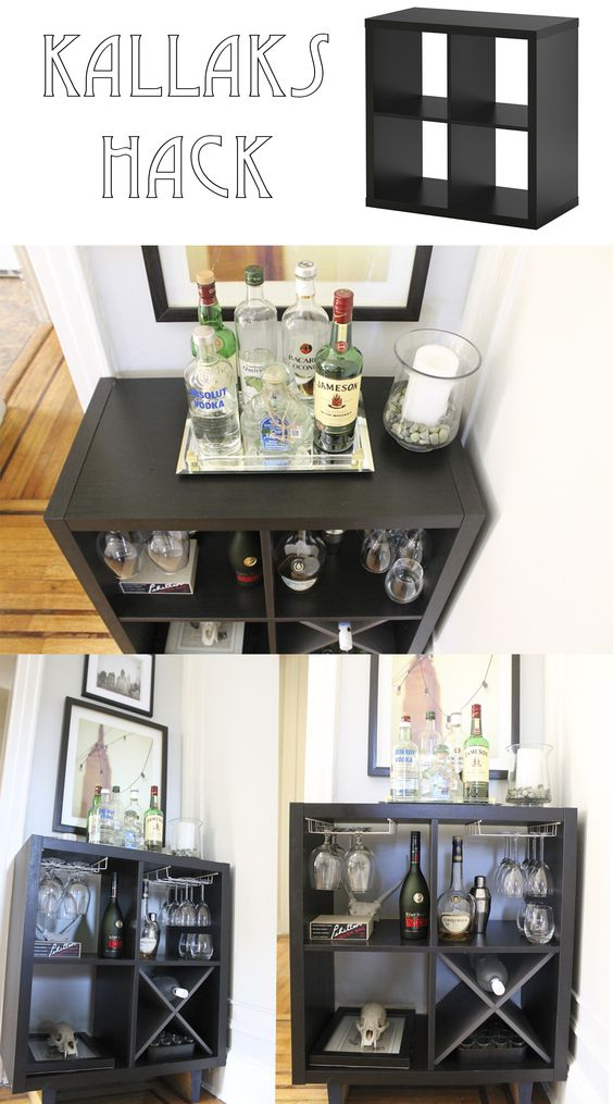 Ikea kallax hack to a bar made by keeparker daily bee for Ikea wine bar