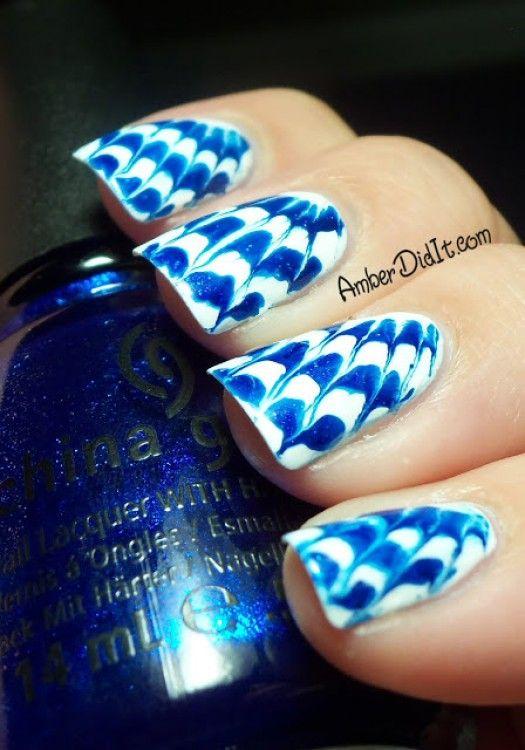 Blue and white Needle Drag Tie Dye