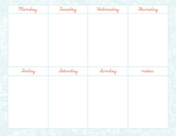 Weekly Schedule Template number 3 JPG and PSD file – Weekend Schedule Template