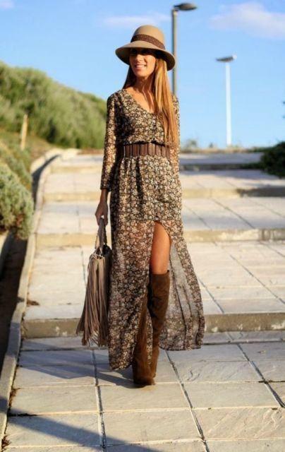 vestidos longo com bota cano alto | inverno