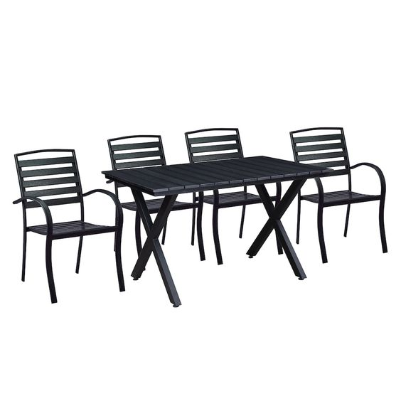 Indoor Outdoor Rectangular Dining Table Stacking Chair 5 Piece Set Black With Images Modern Outdoor Dining Sets Outdoor Dining Set Oakland Living