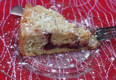 Rhubarb raspberry tea cake