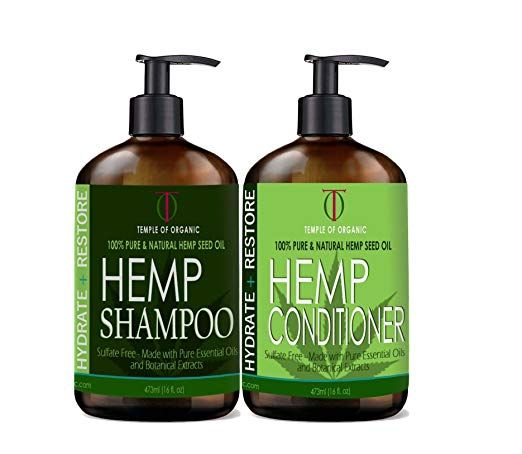 Hemp Hydrate Restore Shampoo Conditioner Set 2 X 16 Oz Bottles With Pump Sls Free 100 Pure Natural Hemp See Shampoo Shampoo And Conditioner