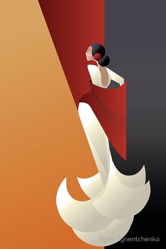 Art Deco styled Spain Flamenco dancer