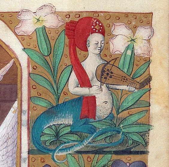 Melusine making music. Book of hours, France 15th century (Beinecke Rare Book and Manuscript Library, MS 662, fol. 21r):