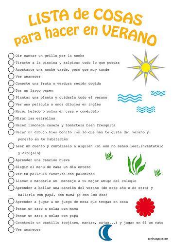 Lista de cosas que hacer en verano para ni os list to do - Que hacer en vacaciones ...
