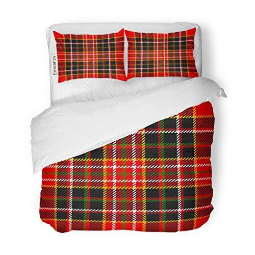 Sanchic Duvet Cover Set Red Plaid Tartan Pattern Green Christmas Scottish Xmas Decorative Bedding Set With 2 Pillow Sham Duvet Cover Sets Bed Decor Bedding Set