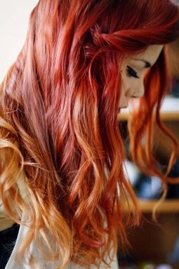 Reminds me of fire. Too pretty. Red to orange to blonde ombré.