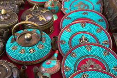 Teapots at the Indian market Royalty Free Stock Image