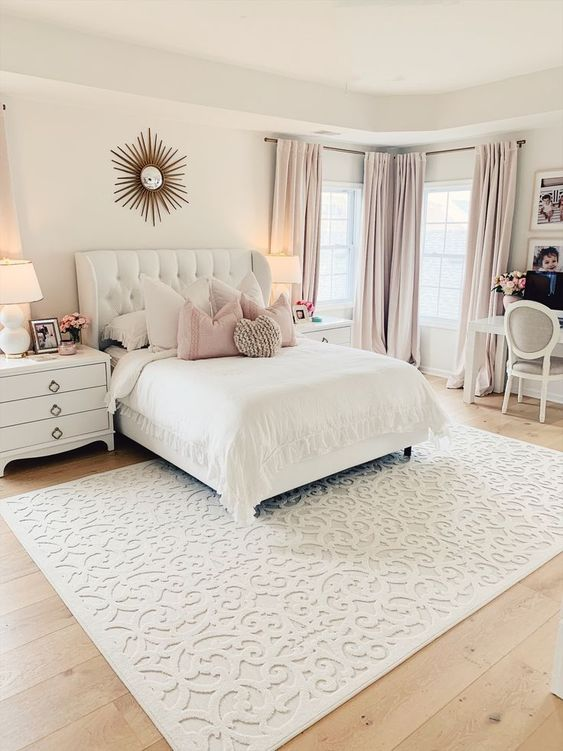 We love how The Pink Dream styled our Boucle Seaborn Natural Rug!. glamorous master bedroom