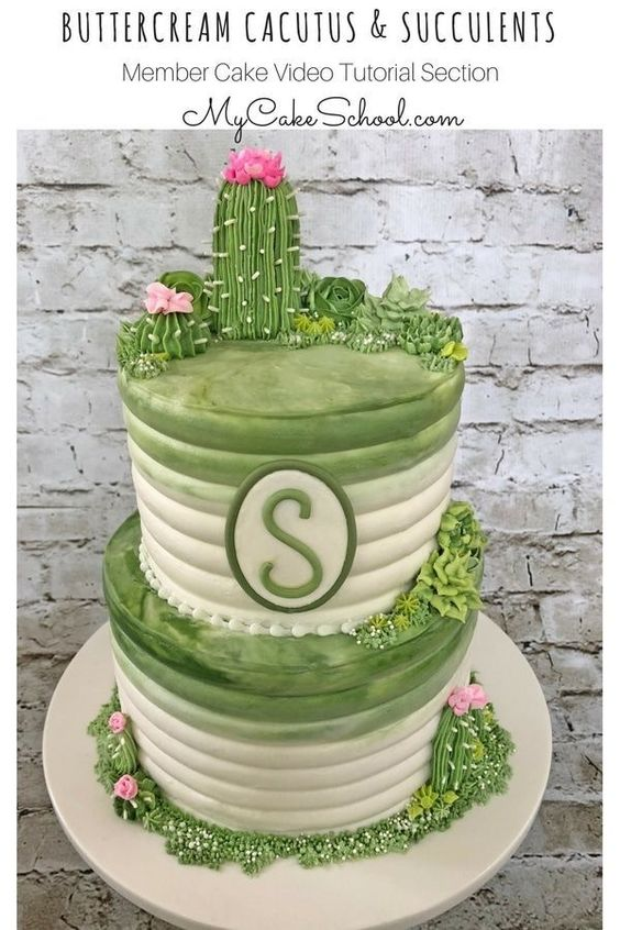 Beautiful Buttercream Cactus and Succulents Cake Decorating Video Tutorial by MyCakeSchool.com! This is such an elegant cake, yet so simple to create! #cactus #succulents #cactuscake #buttercream #caketutorial