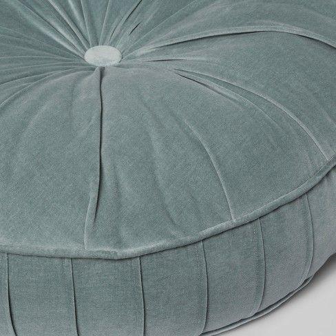 Pleated Velvet Oversize Round Floor Cushion Blue Opalhouse Target Pleated Pleated Velvet Ove In 2020 Floor Cushions Decorative Floor Pillows Floor Pillows Diy