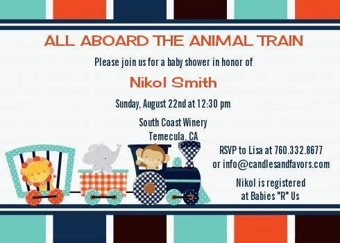 Animal Train - Baby Shower Invitations