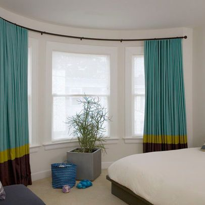 Drapery rods contemporary curtains and curtains on pinterest for Curved bay window