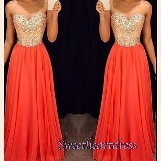 Beautiful orange chiffon sequins sweetheart dress for prom 2016, ball gown for teens, prom dresses long #coniefox #2016prom
