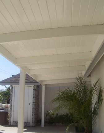 White vinyl solid patio cover. Just the right amount of coverage www.jameshardware.com #smallpatioset