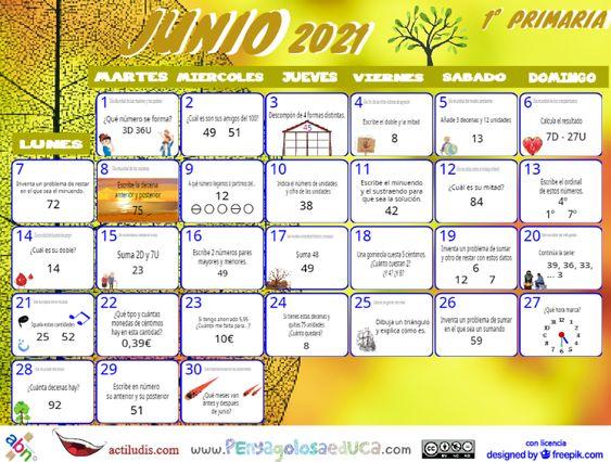 Calendario Primero ABN – Junio 2021