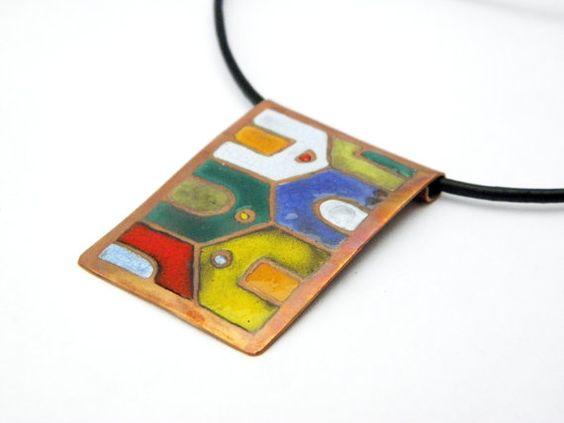 Hundertwasser enamel necklace colorful house by Doorsignforyou, $55.00