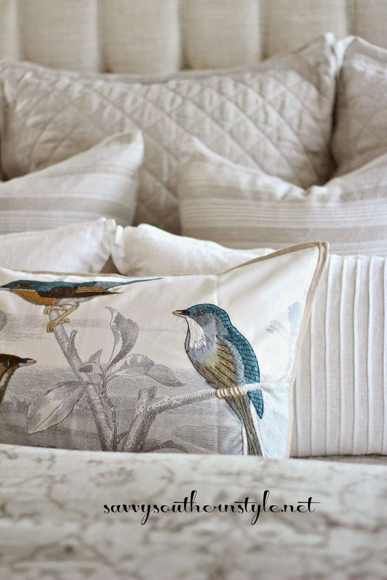 Love Birds Linen Pillows And Master Bedrooms On Pinterest