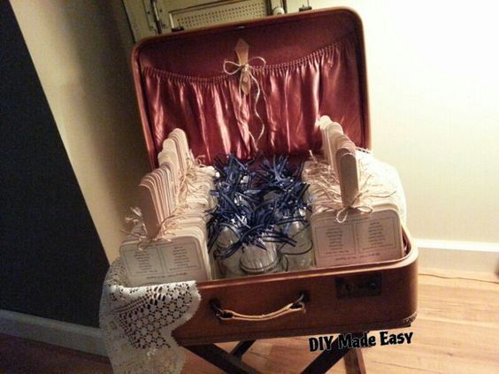 WEDDING PROGRAMS/FAN & bubbles displayed in a cute little vintage suitcase #TrashFindRedesigned
