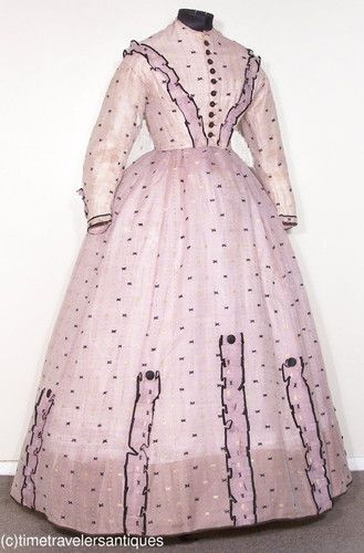 1860s embroidered pale lilac silk gauze