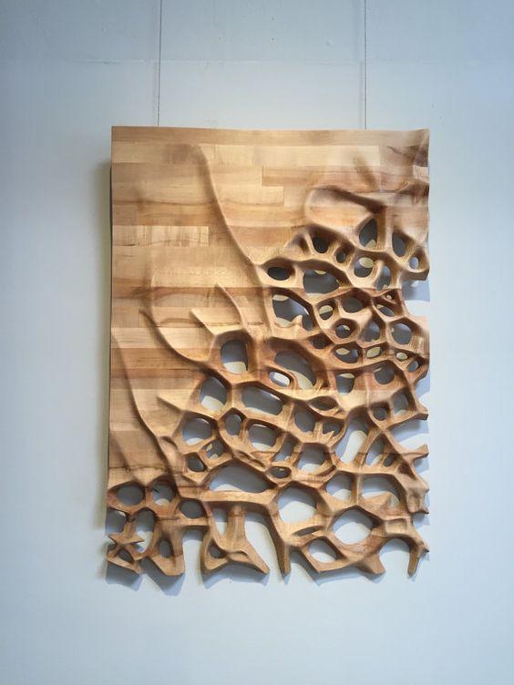 Tenture murale 3D CNC milled bois d'érable par NardineDesignStudio