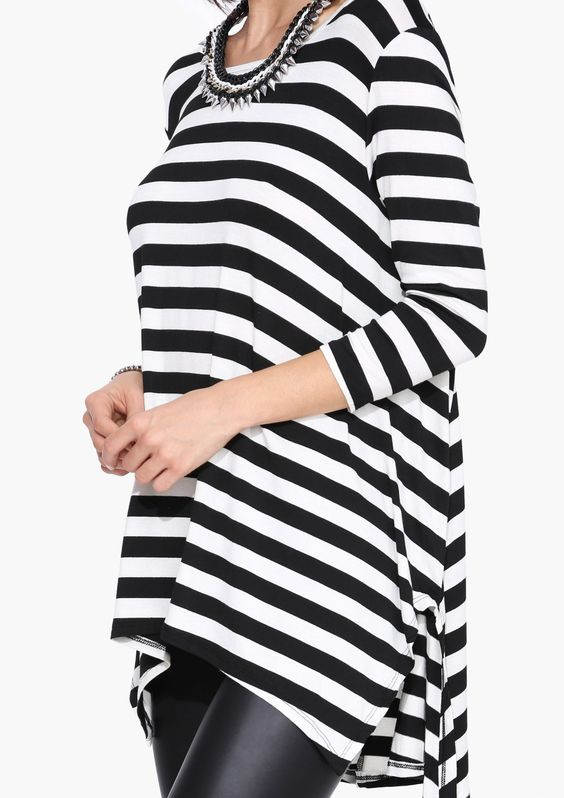 Fall Stripe Tunic Top in Black/white: