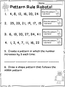 Pattern Worksheets : growing pattern worksheets third grade ...