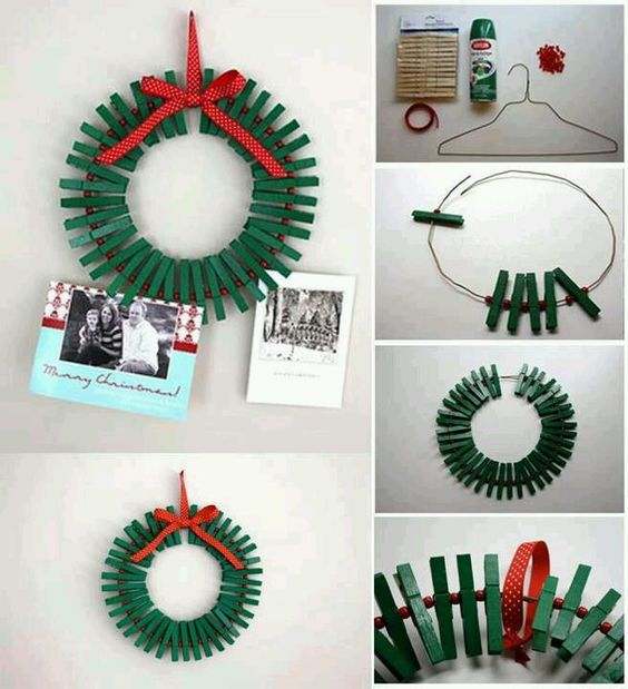 Clothes pin wreath: