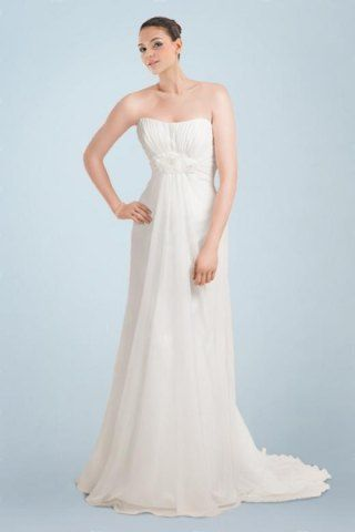 Gorgeous Dipped Neckline Wedding Dress with Floral Ornaments