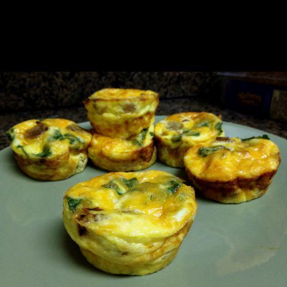Mini crustless quiches 4 eggs. 1/2 C milk, 1/2 your choice cheese ...