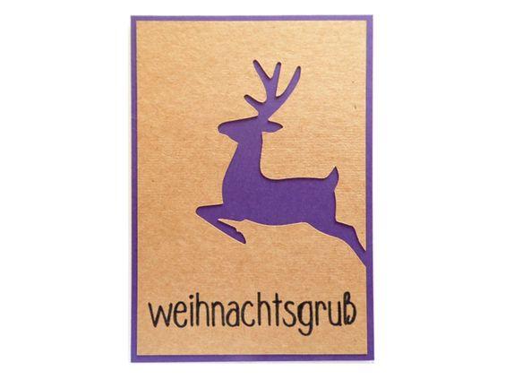 Handgemachte Weihnachtskarte 'Hirsch Lila' von höchst originell auf DaWanda.com