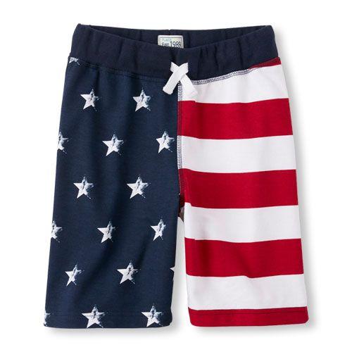 Boys Boys Flag Print Knit Shorts - Blue - The Children's Place