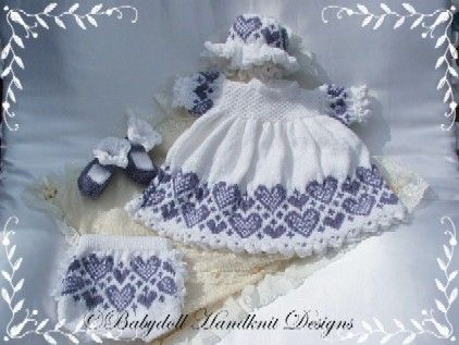 Heart Patterned Dress Set 16-22 inch doll/0-3m baby-Babydoll Handknit Designs, knitting pattern, victorian, reborn, doll, baby, dress: