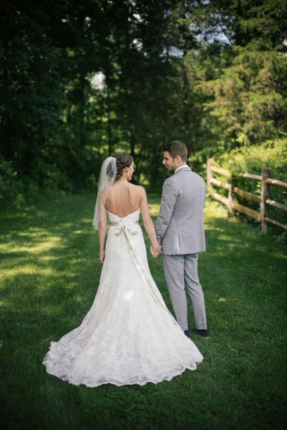 Simple Elegance On The Back Of Allison S Strapless Pasadena Gown By Watters From Wedding At Liz Clinton Gowns Pinterest