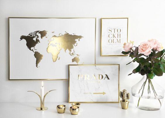 Världskarta poster | Tavla med guld | Posters och affischer online