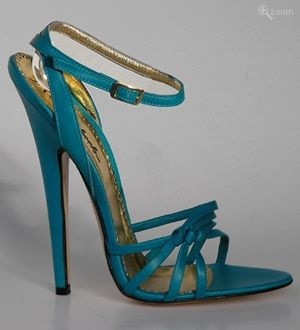 Laura :Elegant turquoise kidskin sandal with knotted straps, gold-buckled ankle strap, gold lining and 15cm spiked heel. Entirely hand-made from highest quality leather and natural fabric by master Italian shoemakers.