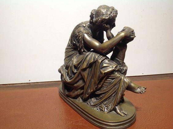 Sehr schöne Bronzeskulptur eines Junge mit seiner Flöte aus Bronze gefertigt