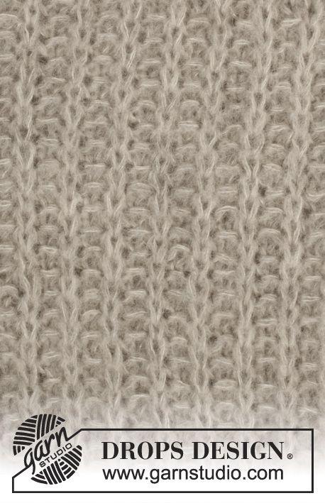 """Stickad DROPS tröja i 2 trådar """"Brushed Alpaca Silk"""" med raglan och falsk patent, stickad uppifrån och ned. Stl S-XXXL ~ DROPS Design"""