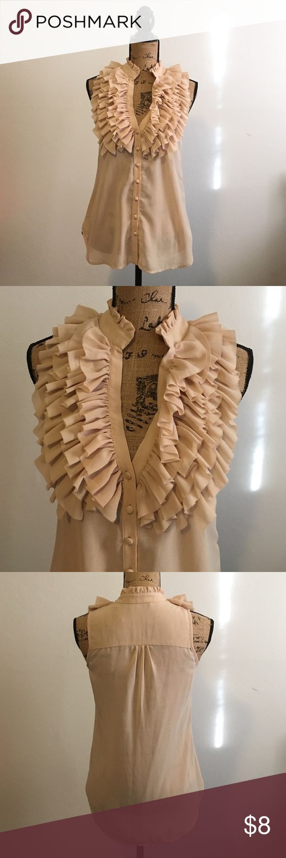 Beige ruffle blouse Really cute sleeveless ruffle button down top. Very good condition-hardly worn. A nice neutral beige color. Tops Blouses
